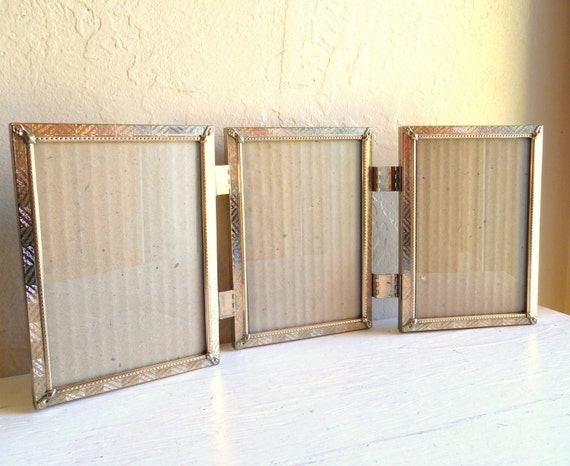 Gold Metal Hinged Picture Frame Triple 5x7 Tri Fold By