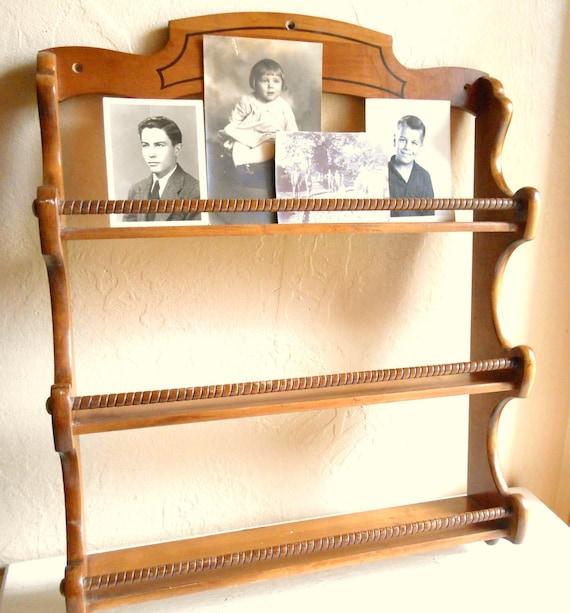 Large Vintage Wood Spice Rack Wall Shelf Organization Wooden