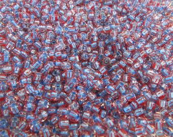 6/0 Red Striped Blue Lined Czech Glass Seed Beads 20 Grams (CS86)