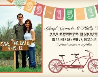 Vintage Tandem Bicycle Save the Date Cards, Bike Wedding Invitations, Red, Brown, Orange, Paper Goods, Cards, Rustic, Modern, Destination