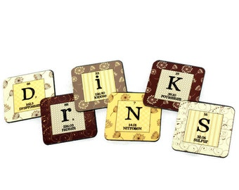 Periodic Table Coasters Personalized Custom Chemistry Nerd Geek Gift Idea Floral