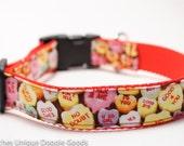Candy Hearts Valentine's Day Dog Collar / Holiday Dog Collar