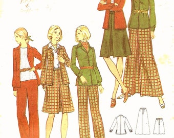 1970's Vintage Sewing Pattern Jacket Skirt High Waisted Pants Butterick 6755 Bust 34