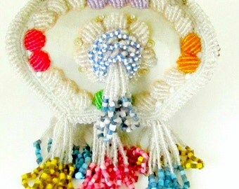 Antique Native American Iroquois Indian Beaded Bag Whimsy Box Pawnee Bill