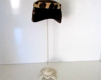 Vintage Pill Box Hat Cheetah Faux Fur Brown Velvet Hat 1960s Fashion