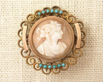 SALE ---- Antique Victorian Gold Filled and Brass Shell Cameo Brooch with Turquoise Seed Bead Accents