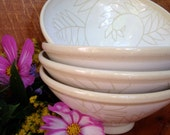 White Fern Pottery Bowls / Handmade Set of 4