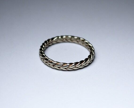 solid 14k white gold thin braid ring by jennifertullwestberg