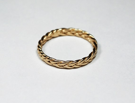 3mm wide Larger Size Solid 14k Thin Braid Ring