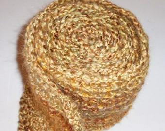 Crocheted Man's Scarf - Lion's Brand Yarn in BOURBON - Men's Fashion Scarf, Men's Apparel, Scarf, Scarves, Clothing Accessory, Yellow Scarf
