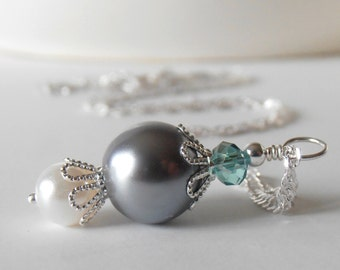 Gray Pearl Necklace Aqua and Gray Bridesmaid Necklaces Beaded Wedding Jewelry Custom Colors Bridesmaid Gift 16 or 18 Inches Silver Chain