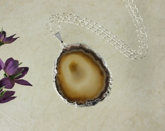 Brown Agate, Agate Pendant, Agate Necklace,Silver Plated, Silver Trimmed Agate Slice Jewelry, APS86