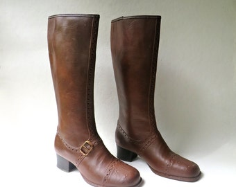 Mod vintage Tall Brown Waterproof Rubber Boots / Rain Boots / Snow Boots