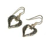 Heart Earrings, Angel Wings, Silver Heart, Angel Wing Earrings, Made In The USA