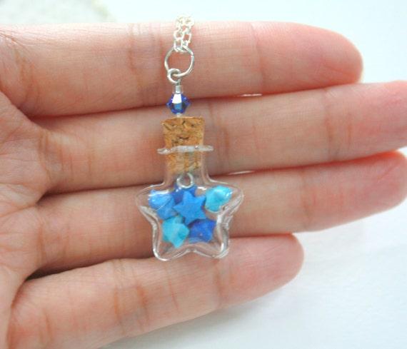 Mini Blue Origami Lucky Stars In Tiny Star Glass Jar Necklace