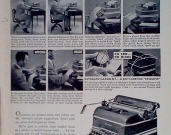Vintage 1947 Smith-Corona Typewriter Magazine Advertisment -  Print Ads,  Vintage Ads, Vintage  Print Ads, Ads, Wall Decor,