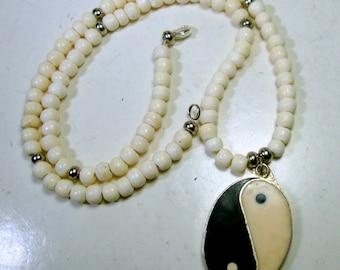 Bone Yin Yang, Yang Yin Pendant Necklace, In Every Good There is Bad, In Every Bad There is Good, Vintage Beads By Rachelle Starr