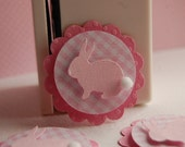 Pink Gingham Bunny Rabbit Embellishment Cupcake Toppers -- Set of 3 -- Ready to Ship