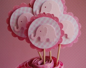 Pink Gingham Elephant Cupcake Topper Picks -- Set of 6 --Embellishment-Girl Baby Shower-First Birthday-Birthday Party- Ready to Ship