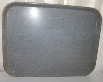 Large Gray Linen Weave Food Service Tray