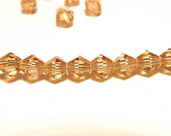 40% OFF -- DESTASH - 50 4mm Preciosa Light Colorado Topaz Bicone Beads - Lot K