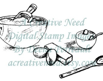 INSTANT DOWNLOAD Digital Stamp Image TIMe To BAKE