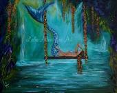 """Mermaid Art Mermaids Print Mermaid Painting Art Print Mermaids Tail Mermaid """"Mermaid Tranquility"""" Leslie Allen Fine Art"""