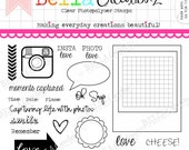 "Clear Stamp Set ""Oh Snap"" - Perfect for Project Life, Instagram, Polaroid scrapbook pages or cards."