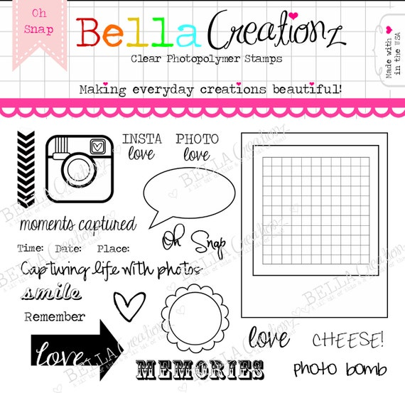 "Camera Stamp Clear Stamp Set ""Oh Snap"" - Perfect for Project Life, Instagram, Polaroid scrapbook pages or cards."