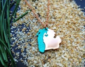 Copper Lake MIchigan and Michigan State Pendant Necklace Personalize the Location of the Heart