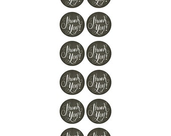 12 Chalkboard Thank You Stickers or Envelope Seals
