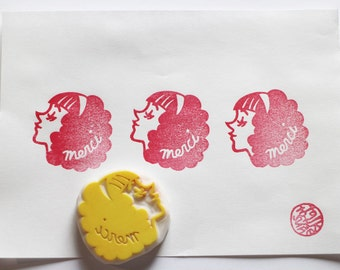 merci rubber stamp. girl hand carved rubber stamp. thank you stamp. holiday gift wrapping. diy thank you notes. stamps by talktothesun
