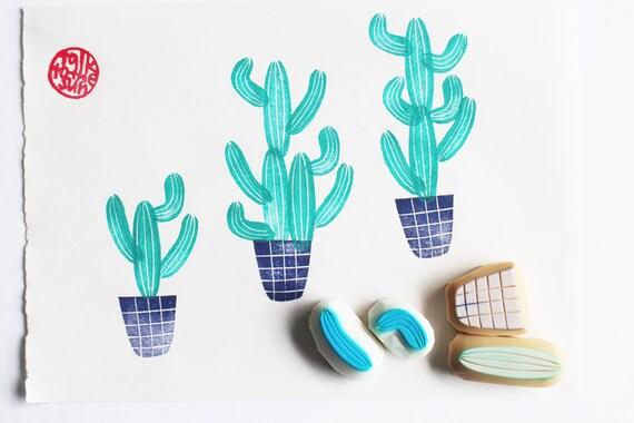 establece sello cactus.  maceta cactus talladas a mano sellos de goma.  mexicano sello jardín.  bricolaje cumpleaños / vacaciones.  fabricación de la tarjeta / scrapbooking.  un conjunto de 4