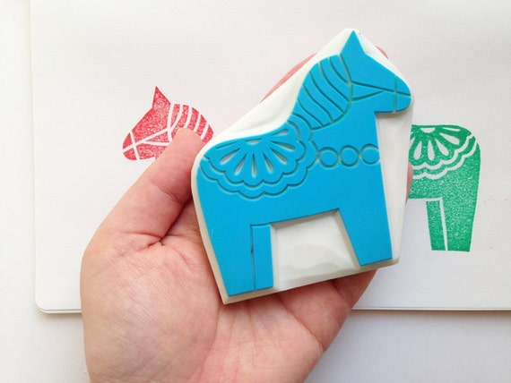 dala horse stamp. swedish horse hand carved rubber stamp. scandinavian birthday scrapbooking. block printing. winter holiday crafts. large
