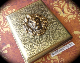 Large Size Lion Cigarette Case Extra Big Antiqued Brass Tone Metal Wallet Gothic Victorian Steampunk Brass Lion Vintage Inspired