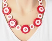 Button necklace, red and white reclaimed, recycled upcycled buttons.