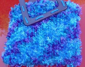 Vivid Royal Colors Blue and Purple Hand Bag - OOAK Loom Knit with Love from an EtsyMom