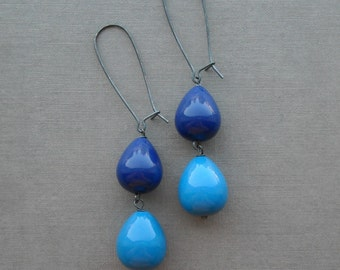 i only have eyes for blue - earrings - vintage lucite and sterling