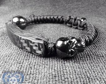 Skulls, Carbon Fiber & Paracord Bracelet, Carbon Fiber Bracelet, Skull Bracelet, Paracord Bracelet, Custom Bracelet, Adjustable Bracelet