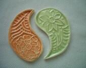 SALE PRICE - TC - Flower Stamped Yin-Yang - Ceramic Mosaic Tiles