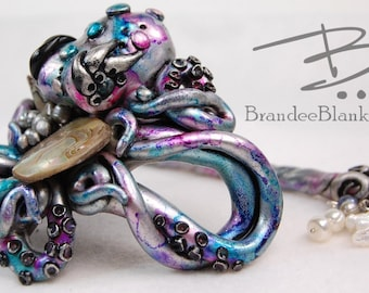 Silvery Purple Swirled Octopus Hair Ornament - ready to ship