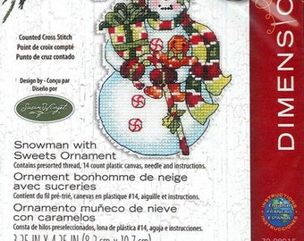 Dimensions - Snowman with Sweets Ornament 70-08915, Christmas Counted Cross Stitch Kit - Susan Winget design