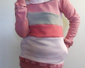STRAWBERRY TART - Hoodie Sweatshirt Sweater - Recycled Upcycled - One of a Kind Women - SMALL