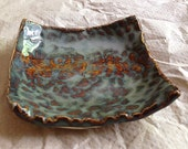 Handbuilt Mini Dish - Blue and Brown Glazes - Ideal for Used Tea Bags, Tea Lights, Rings, Earrings and Spoon Resting - A Lovely Teacher Gift