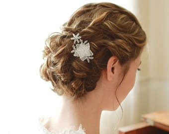 Lace hair pin, wedding hair comb, lace hair clip - style 124