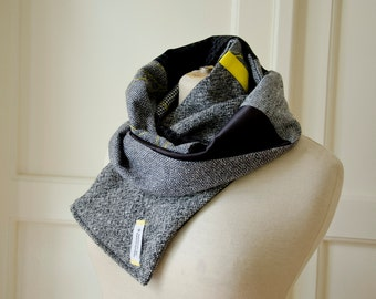Grey Wool Scarf with Yellow Accents, Patchwork Warm Long Scarf, Unisex