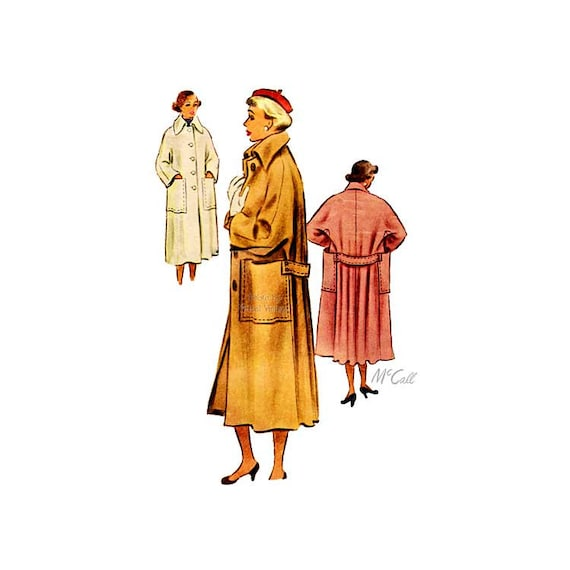 Vintage 40s Misses Long Coat Sewing Pattern McCall 7775, Button Front, Wide Sleeves & Large Pockets Size 14 Bust 32, Swing Swagger Coat