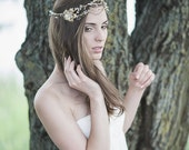 Bridal Gold Headpiece , Wedding Headband , Bridal Floral Halo , Swarovski Crystal Pearl Headpiece, Bohemian Bridal Hair Accessory