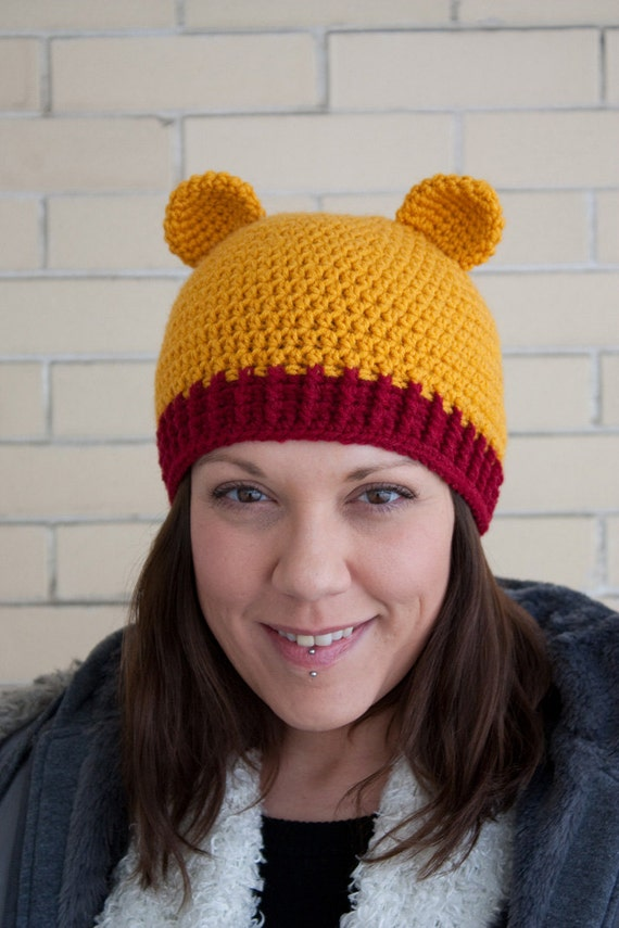Crochet Pooh Bear Hat Pattern : Cuddly Winnie the Pooh bear crochet hat