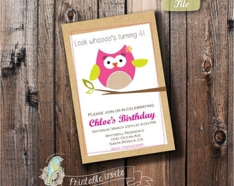 Printable Birthday Invitation, Personalized birthday party Invite, Digital invite, DIY, Owl theme